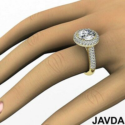 3 Row Shank Double Halo Round Diamond Engagement Ring GIA F SI1 Clarity 2.5 Ct 11