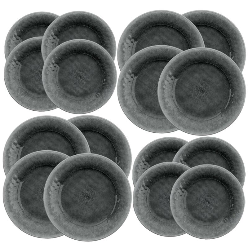 Potters Reactive Glaze - Grey - Melamine 16 Piece Dinner & Side Plate