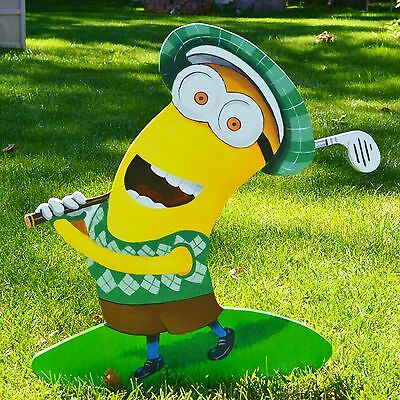 lawn stake art Kevin Minion playing golf yard decor plaques decorations yard art