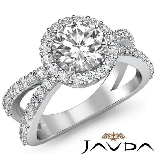 Halo Round Diamond Engagement Split Shank Ring GIA F VS1 14k White Gold 2.25ct