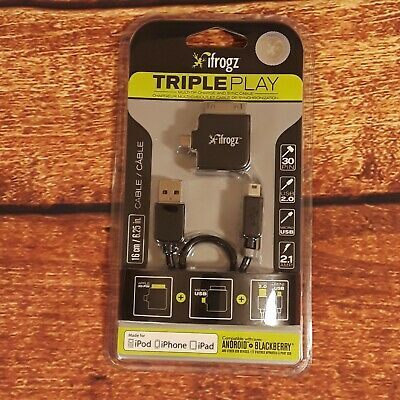 iFrogz Triple Play Multi-Tip USB 2.0 Charge/Sync Cable w/30-Pin Dock Connector, used for sale  Shipping to India