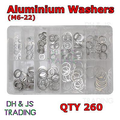 Assorted Box of Aluminium Washers Sealing Sump Washer Fasteners M6 8 10 12 14 22