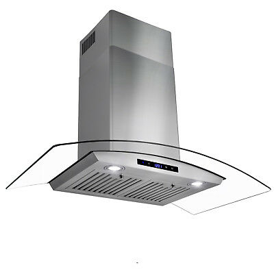 "36"" Wall Mount Stainless Steel Glass Range Hood Touch Panel Kitchen Stove Vents"