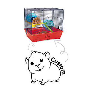 Customised Hamster Cage Tank House Home Vinyl Decal Sticker Glass Car Window