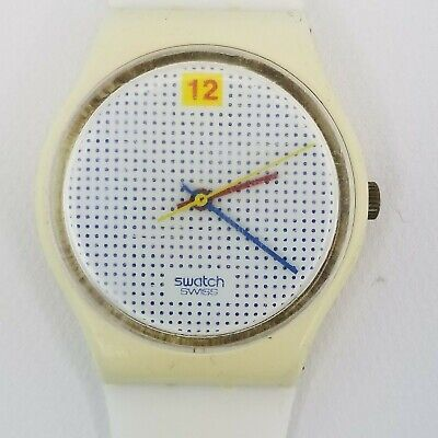 Vintage Swatch Watch White With Blue Dots 1985 Plastic 33mm New band & Battery