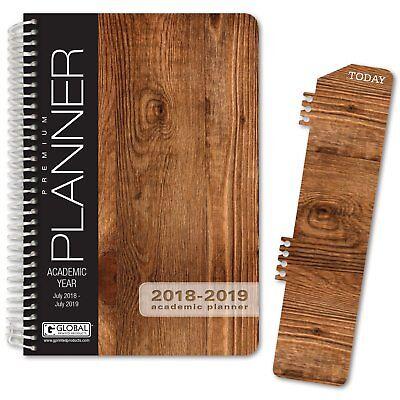 Hardcover Academic Year Planner 2018-2019 Woodgrain