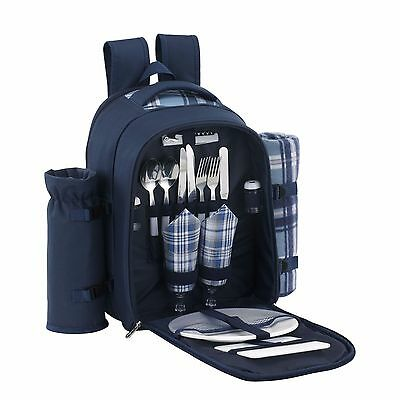 VonShef 2 Person Blue Picnic Backpack With Cooler Compartment and Accessories