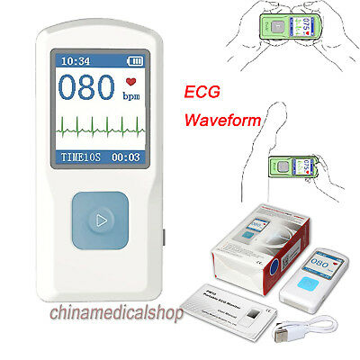 Us Seller Ecgekg Monitor Handheld Portable Electrocardiograph Lcd Usb Bluetooth