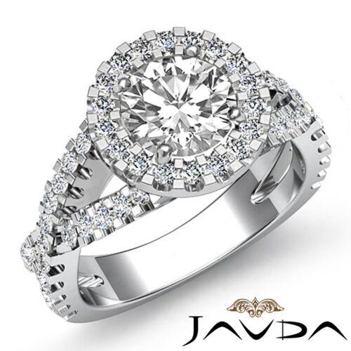 Halo Shared Prong Set Round Diamond Engagement Ring GIA F VS1 Platinum 2.4ct