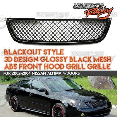 MADE FOR 02-04 NISSAN ALTIMA BLACK JDM 3D MESH HONEYCOMB FRONT BUMPER GRILLE USA