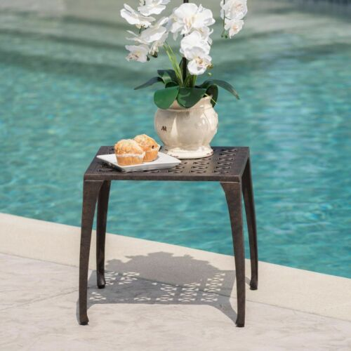 Kata Outdoor 18-inch Bronze Finished Cast Aluminum Side Table Home & Garden