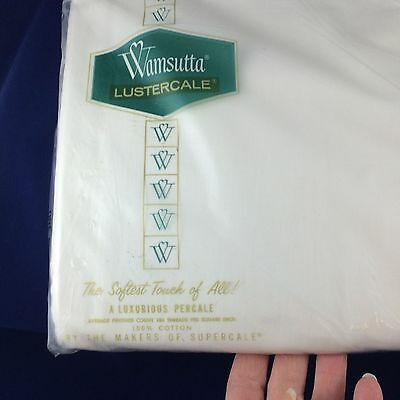 "Vtg New WAMSUTTA Lustercale white TWIN  flat bed sheet 100% cotton 72x108""(277)"