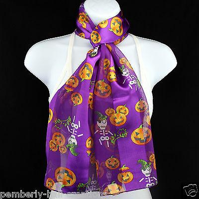 Skeleton Witch & Pumpkins Women's Scarf Halloween Scarfs Gift Purple Scarves - Witch Pumpkins