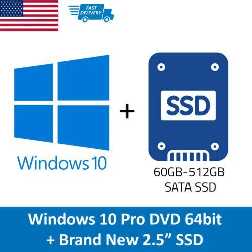 "Windows 10 Pro DVD + License Code Key with BRAND NEW 2.5"" SATA SSD 60GB - 512GB"