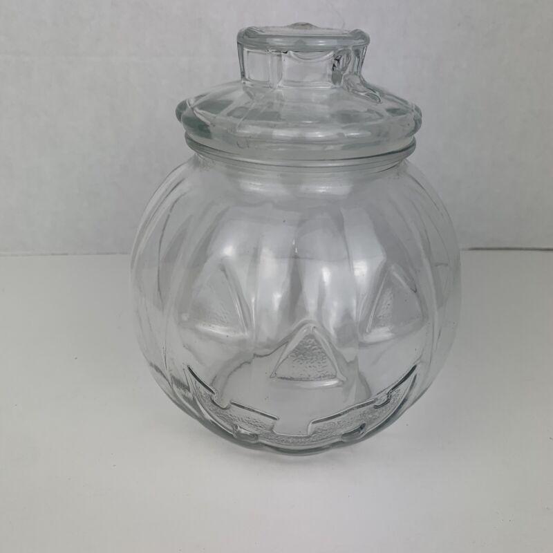 "Ancor Hocking Jack-o-Lantern Pumpkin Glass Candy Jar W/ Lid 7"" Halloween"