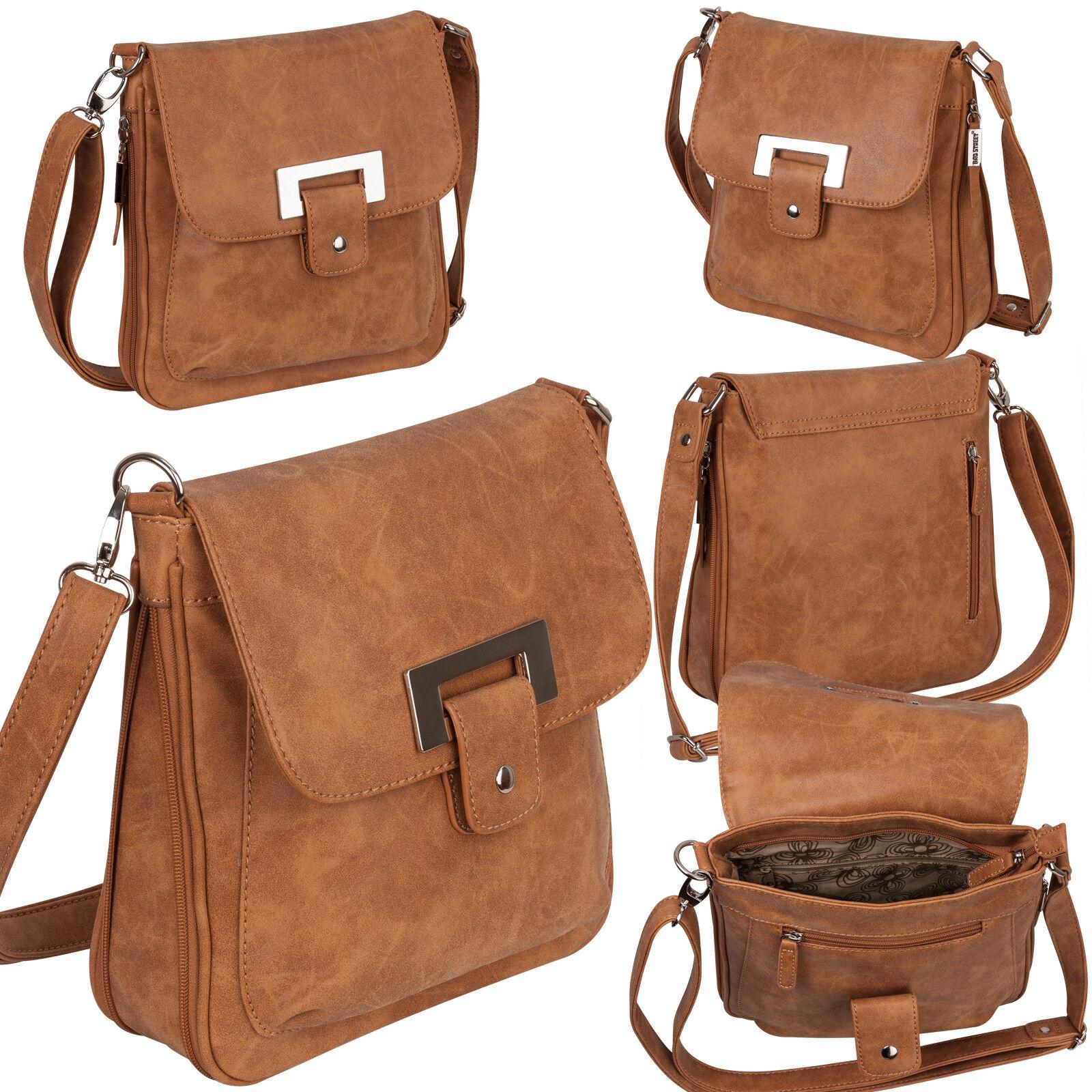 Bag Street Damentasche Umhängetasche Handtasche Schultertasche K2 T0101 Cognac