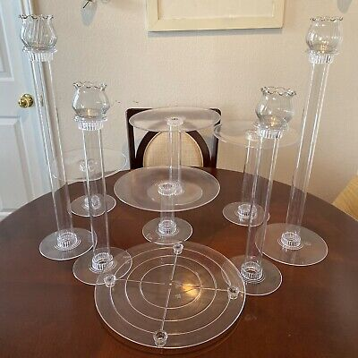 Acrylic Clear Cake Stands Set of 5 with Candles Pedestal Holder Led Lights