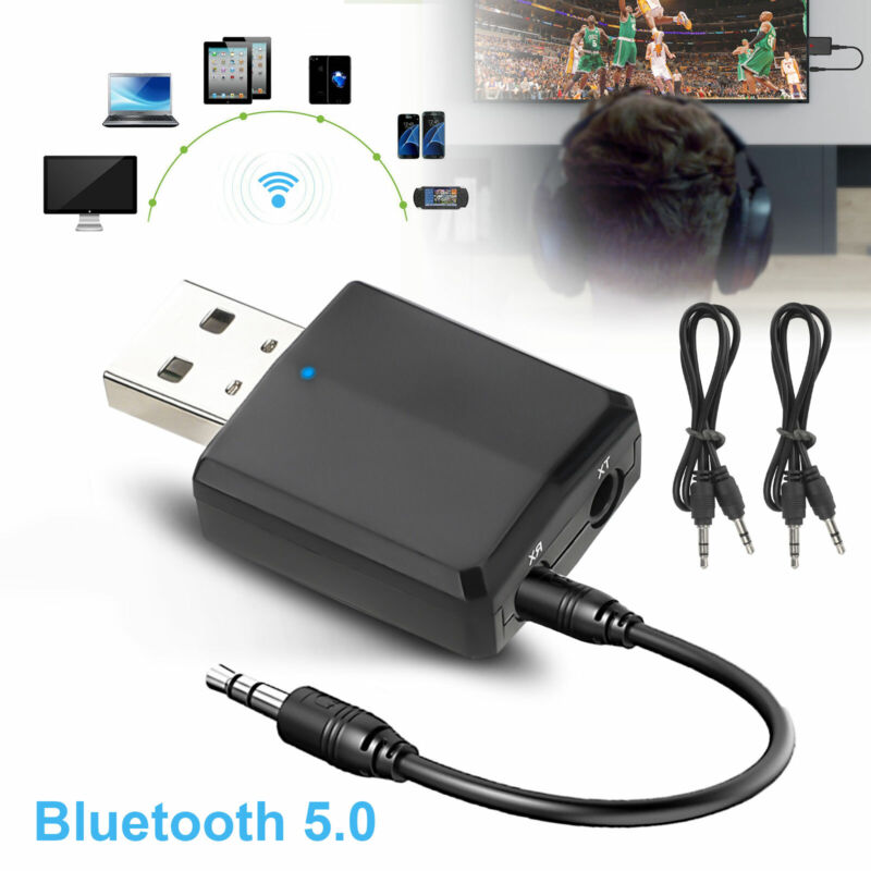 2in1 USB Wireless Bluetooth 5.0 Audio Transmitter Receiver Adapter 3.5mm Aux PC