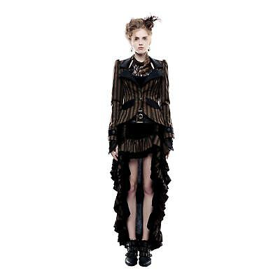 Women's Steampunk Victorian Gothic Pirate Brown Striped Costume Jacket Coat - Pirate Coat For Women