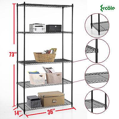 73x36x14 Heavy Duty 5 Tier Layer Wire Steel Shelving Rack Shelf Adjustable