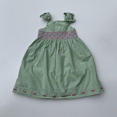 Gymboree Girls Green Gingham Smocked Sleeveless dress size 5