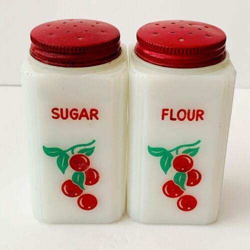Tipp City Cherries Shakers Milk Glass Flour Sugar Vintage Red Lids
