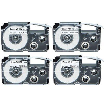 4pk Compatible Casio Xr-12we Black On White Label Tape For Ez Kl-7200 Kl-750