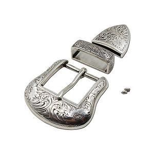 New Western Antique Silver Engraved Belt Buckle Set 1-1/2
