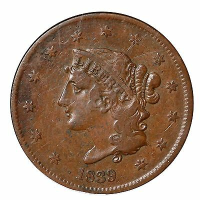 1839 N-12 R-5 ANACS EXTRA FINE  DETAILS BOOBY HEAD LARGE CENT COIN 1C