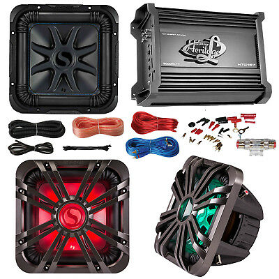 "Kicker 10"" Marine Car Subwoofer W/ LED Grill, 2000W Amplifier W/ Amp Install Kit"