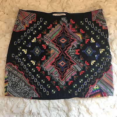 Zara Trafaluc mini Skirt navy with embroidery colorful print women's size small