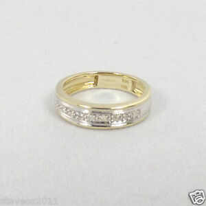 Solid 9ct Yellow/White Gold Diamond Half Eternity Ring Size N1/2 RRP £119.99