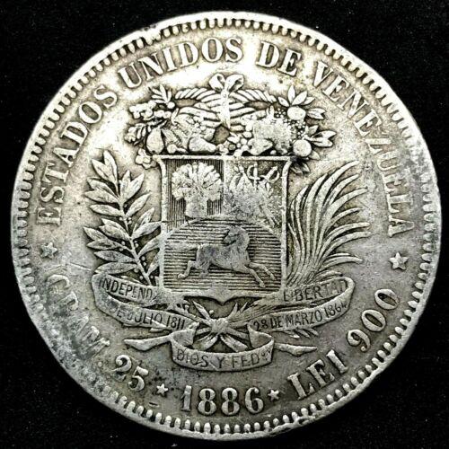 1886- VENEZUELA 5 BOLIVARES (25 GRAM) .900 Silver Coin #1  Y#24.1.