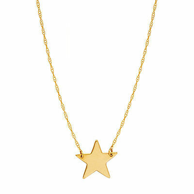 Mini Star Gold Pendant Necklace - 14K Yellow Gold Mini Star Pendant Necklace, 16 To 18 Inches Adjustable