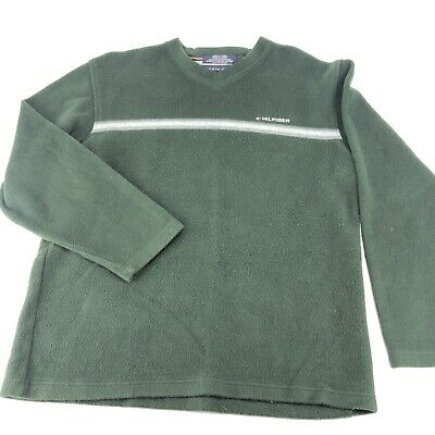 Tommy Hilfiger Fleece Sweater V Neck Vintage Mens Large L Green Spell Out Logo