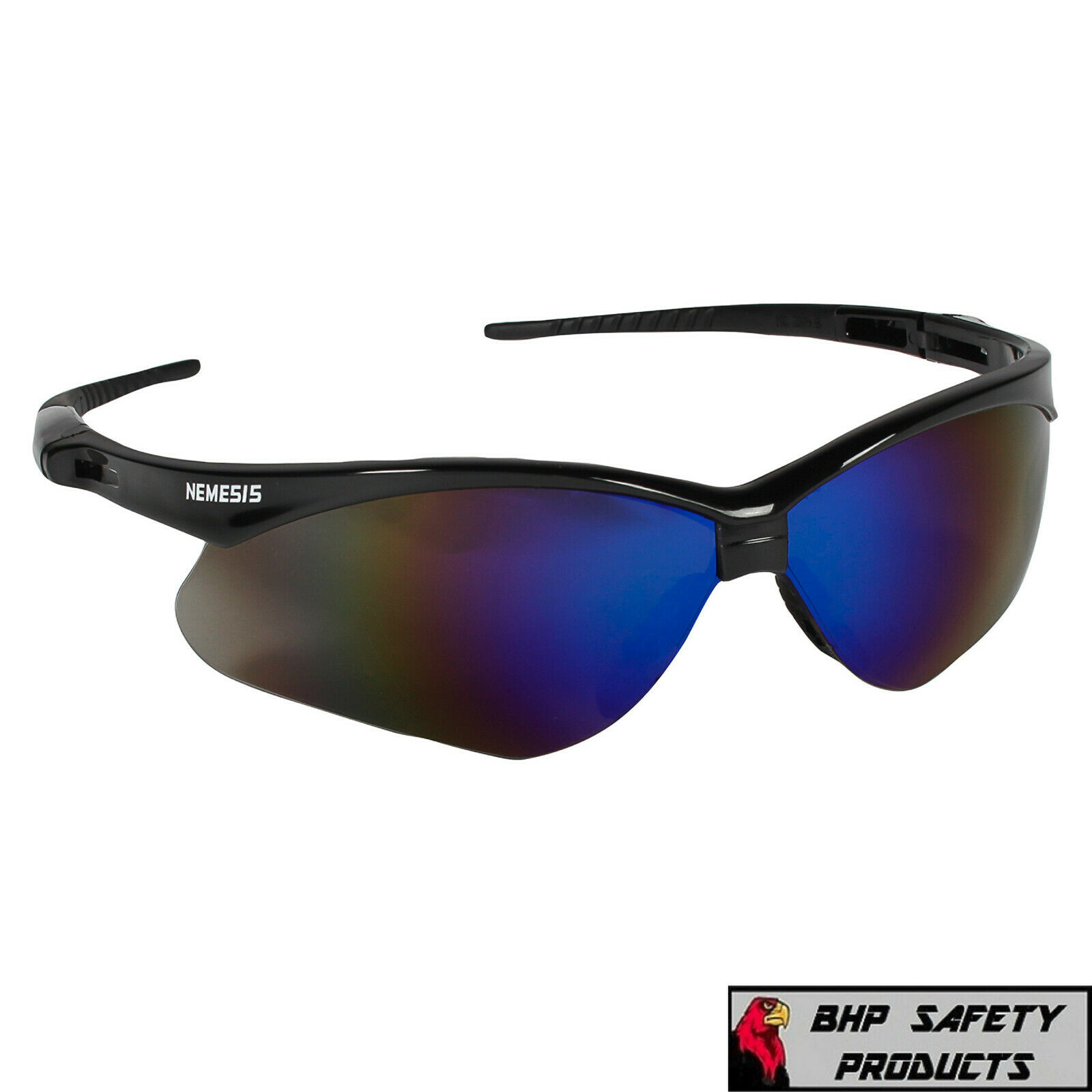 JACKSON NEMESIS SAFETY GLASSES SUNGLASSES SPORT WORK EYEWEAR ANSI Z87 COMPLIANT 14481- Black Frame/Blue Mirror Lens