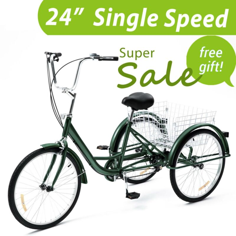 24 Inch Trike 1 Speed Adult Tricycle 3-Wheel Bike w/Basket f