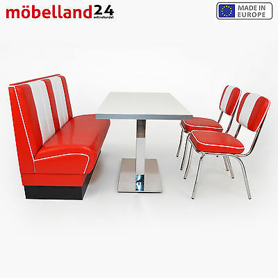 AMERICAN DINER Sitzgruppe Viber: Dinerbank 120cm + 2 Retro Stühle + Diner Tisch