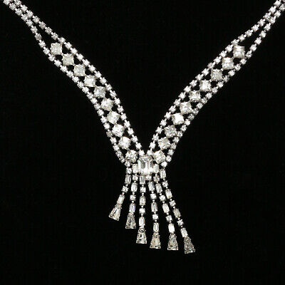 Vintage Weiss Signed Rhinestone Necklace c1950 -READ- No reserve Free shipping