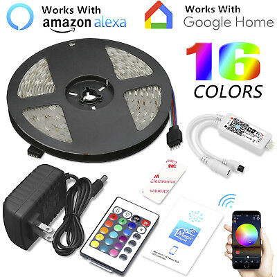 16.4ft 150LED Alexa Smart Home WIFI Wireless RGB Waterproof Strip Neon Light Kit - Multi Colored Leds