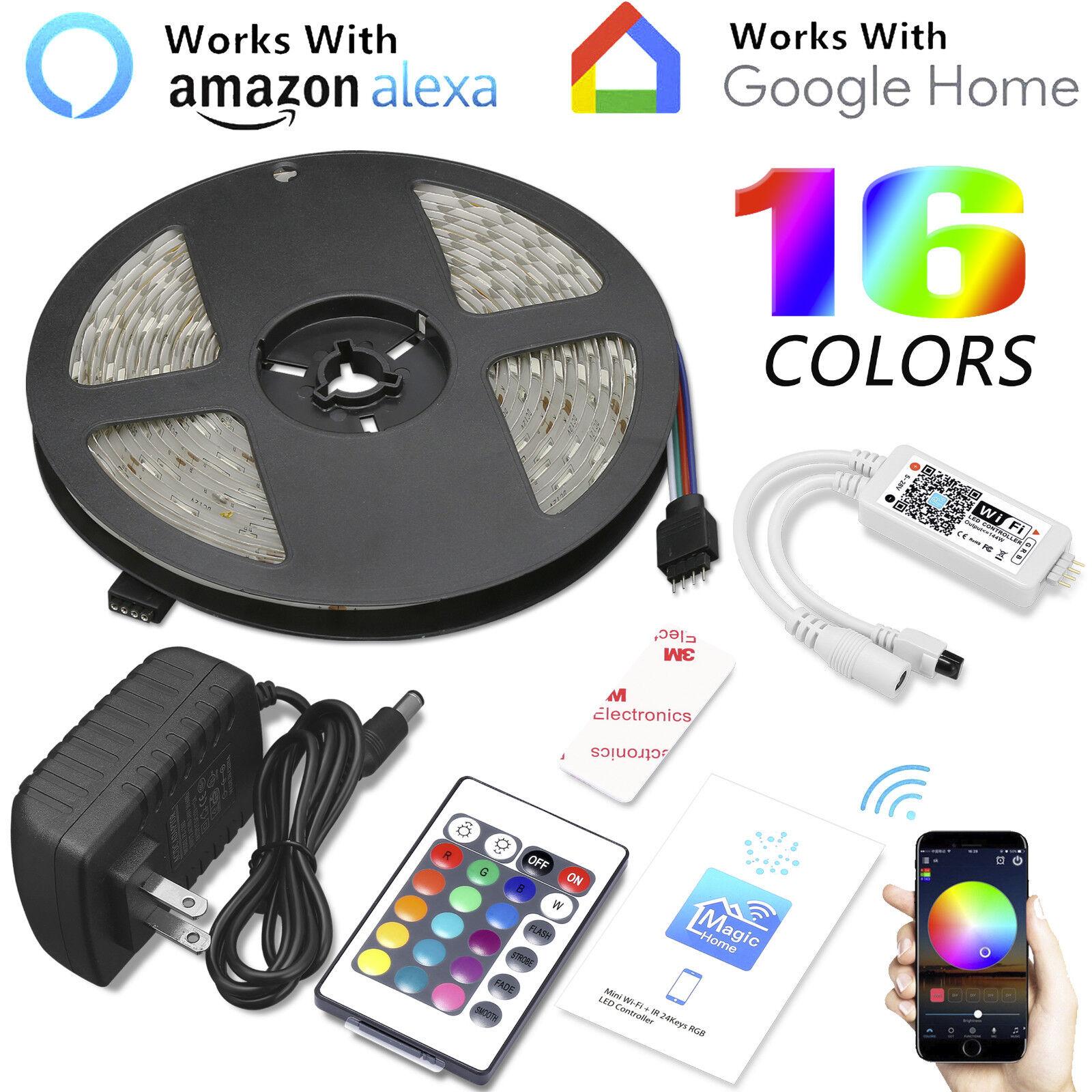 16.4ft 150LED Alexa Smart Home WIFI Wireless RGB Waterproof Strip Neon Light Kit Home & Garden