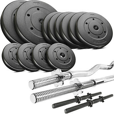 Trex Hantelset 60kg Set Stange Hantel Gewichte Lang-, Curl- & Kurzhantel  ()