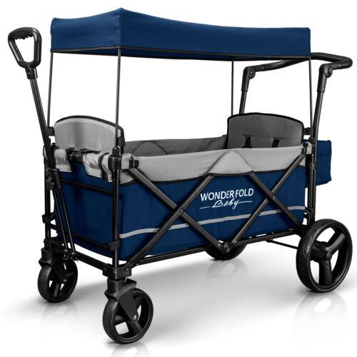 Wonderfold Wagon X2 Push Pull 2 Passenger Folding Stroller Navy NEW
