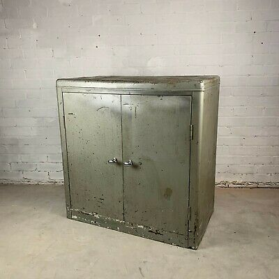 Vintage Mid Century Industrial Steel Cabinet with Wooden Shelving