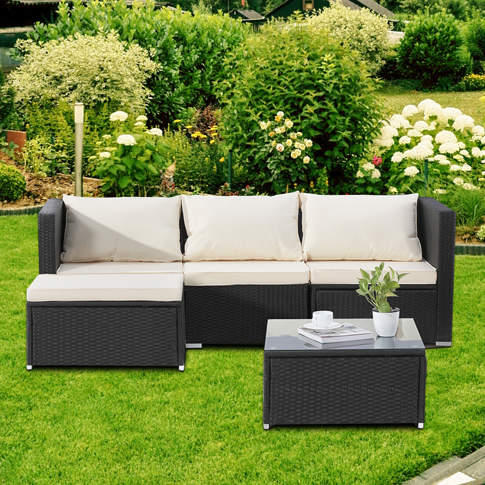 5pc Wicker Rattan Patio Sofa Set Garden Furniture Outdoor Corner Couch Cushion
