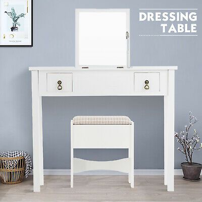 - Vanity Makeup Dressing Table Set Flip Top Mirror w/ Stool 2 Drawer Desk White