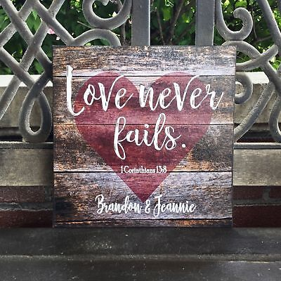 Personalized Wedding Gift (Custom Love Never Fails Canvas, Personalized, Perfect Anniversary / Wedding)