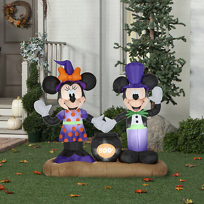 Gemmy Mickey Mouse Minnie Mouse Cauldron Scene Halloween Airblown Inflatable New - Mickey Mouse Inflatable Halloween