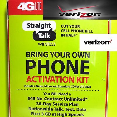 Straight Talk SIM Card For VERIZON Tower CDMA Network Activation Kit