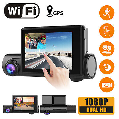 Dual 1080P WiFi Dash Cam,w/ Touch screen GPS Front & Inside Camera Night Vision